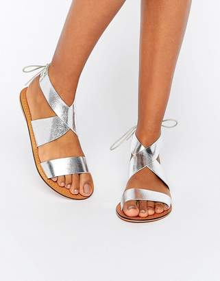 ASOS FRECKLES Leather Lace Up Flat Sandals $35 thestylecure.com