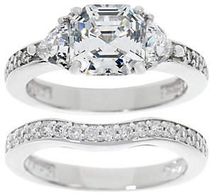 Diamonique 2.90 cttw Asscher Bridal Ring Set,Platinum Clad