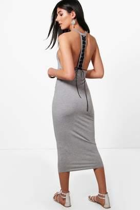boohoo Olivia Lace Up Back Midi Dress