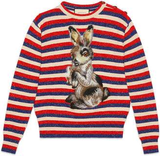 Gucci Wool lurex striped sweater with rabbit