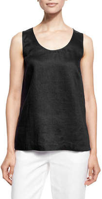 Go Silk Petite Linen Scoop-Neck Tank