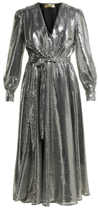 MSGM Sequinned Midi Dress - Womens - Silver