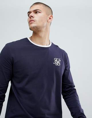 SikSilk long sleeve ringer t-shirt in navy