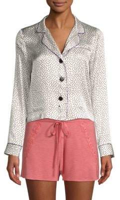 Fleur Du Mal Printed Silk Pajama Top