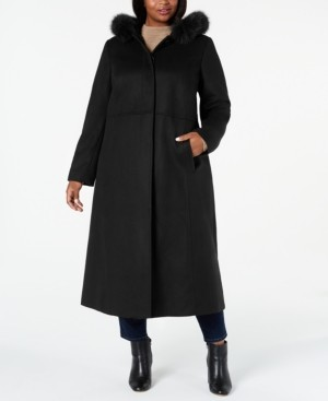 Macy's Forecaster Plus Size Fox-Fur-Trim Hooded Maxi Coat, Created For