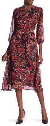 Amelia Floral 3\u002F4 Sleeve Wrap Dress
