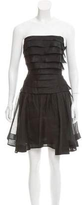Carmen Marc Valvo Strapless Tiered Dress