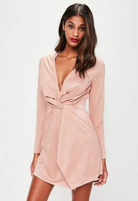 Missguided Pink Faux Suede Twist Front Dress