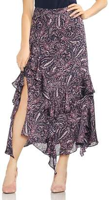 Vince Camuto Asymmetric Tiered Ruffle Paisley Skirt