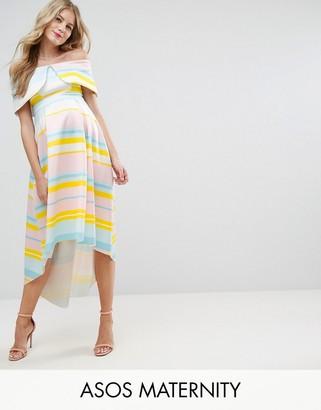 ASOS Maternity Bright Stripe Deep Fold Dress $95 thestylecure.com