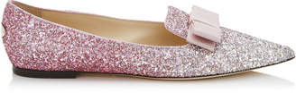 Jimmy Choo GALA Platinum and Flamingo Ice Glitter Degrade Fabric Pointy Toe Flats