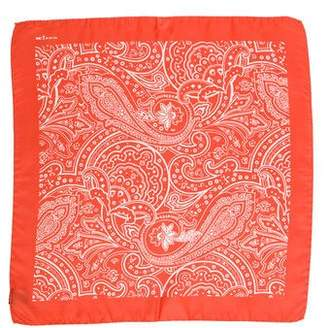 Kiton Paisley Print Silk Pocket Square