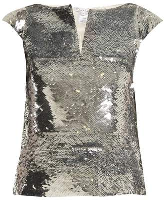 Oscar de la Renta V Neck Sequin Embellished Top - Womens - Silver