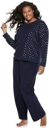 So Plus Size SO Graphic Tee & Microfleece Pants Pajama Set