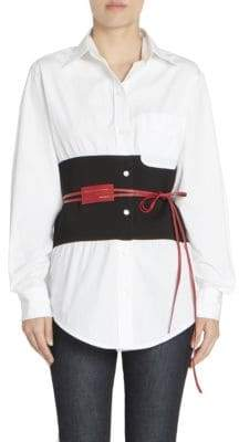 Victoria Beckham Women's Two-Tone Corset Belted Shirt - White Black Red - Size UK 6 (2)