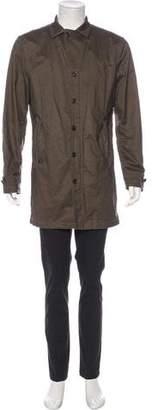 John Varvatos Linen Contrast-Stitched Overcoat