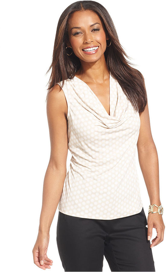 Charter Club Top, Sleeveless Printed Cowl-Neck