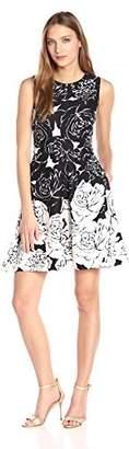 Taylor Dresses Women's Positive Negative Floral Border Scuba Fit and Flare