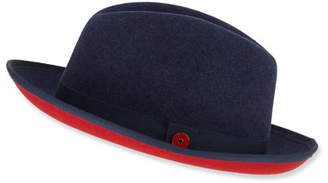 Keith and James Men's King Red-Brim Wool Fedora Hat, Blue