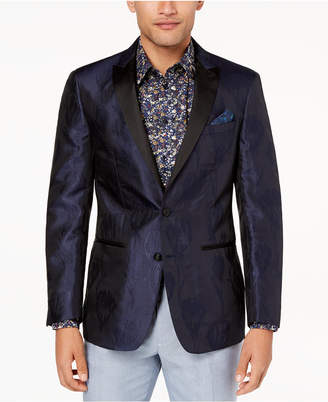 Tallia Orange Men's Modern-Fit Navy Textured Floral Big and Tall Dinner Jacket