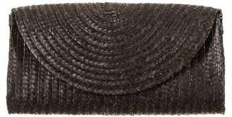 Black Envelope Straw Clutch Bag