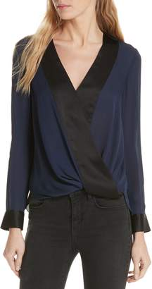 L'Agence Kyla Draped Silk Surplice Blouse