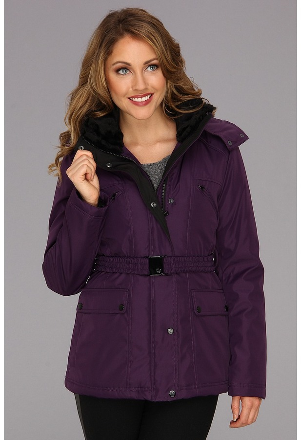 Jessica Simpson Belted Ply Bonded w/Faux Fur Coat (Purple) - Apparel