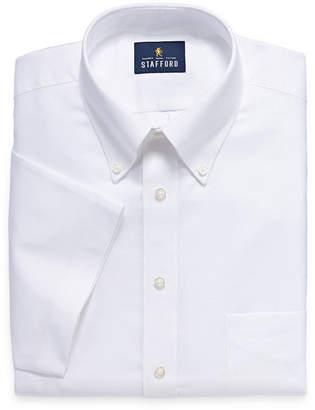 STAFFORD Stafford Travel Wrinkle Free Stretch Oxford Short Sleeve Mens Button Down Collar Short Sleeve Wrinkle Free Stretch Dress Shirt