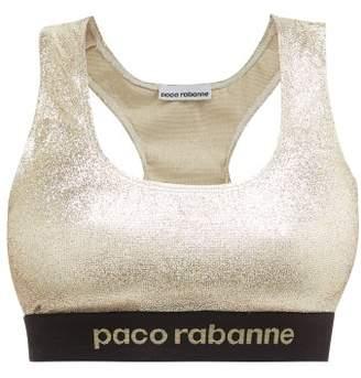 Paco Rabanne Logo Jacquard Racerback Metallic Sports Bra - Womens - Gold