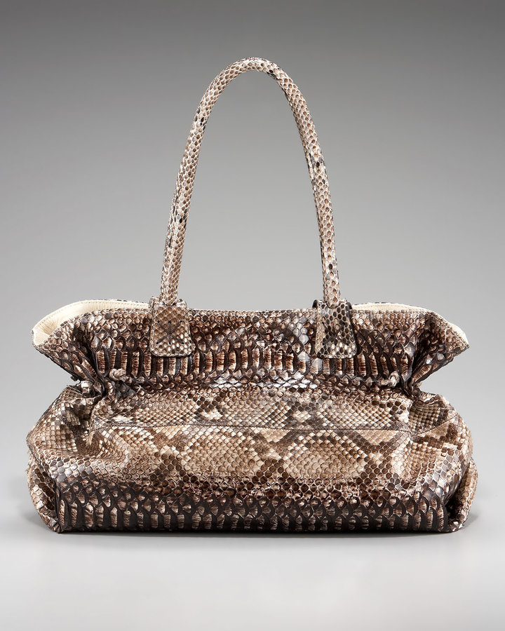 Carlos Falchi Glazed Python Doctor Bag
