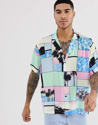 Asos Design DESIGN oversized shirt with beach scene and deep v neck