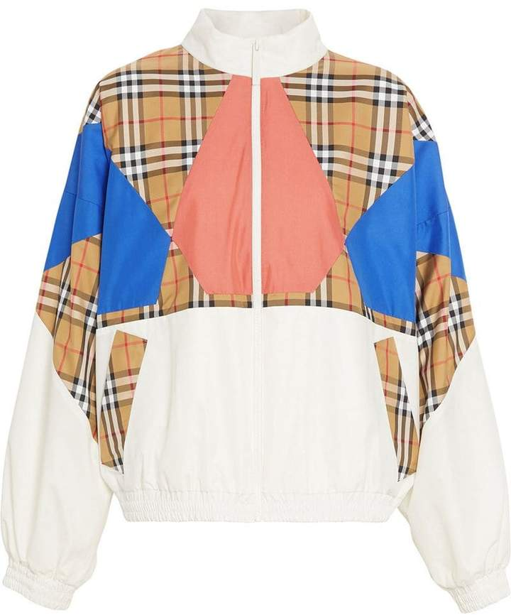Vintage Check Panel Silk Shell Suit Jacket
