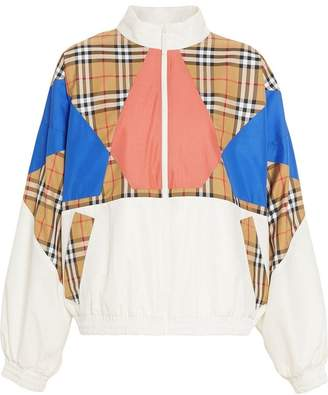 Burberry Vintage Check Panel Silk Shell Suit Jacket