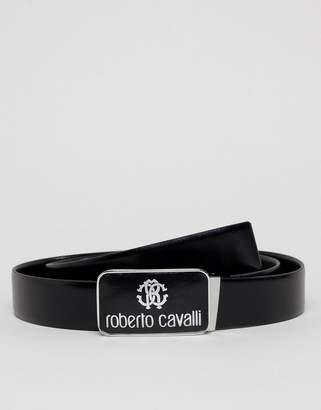 Roberto Cavalli Skinny Logo Leather Belt