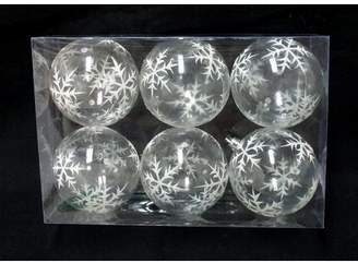 Three Posts Clear Ball Ornament with Silver Glitter Snowflake
