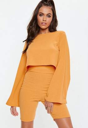 Missguided Orange Ribbed Cycling Shorts
