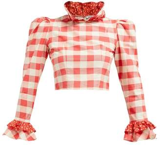 bb641b322a7a9 Batsheva Gingham And Floral Print Cotton Cropped Blouse - Womens - Red White