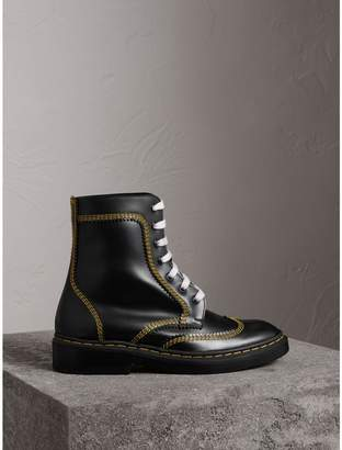 Burberry Topstitch Leather Lace-up Boots