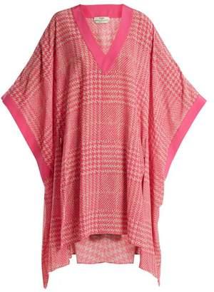 Fendi Prince of Wales-checked print silk-crepe kaftan