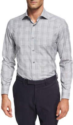 Ermenegildo Zegna Stripe-Plaid Cotton Shirt