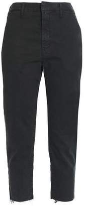Mother Cropped Cotton-Blend Gabardine Straight-Leg Pants