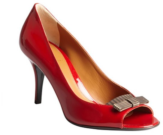 Fendi firetruck red patent leather striped bow peep toe pumps