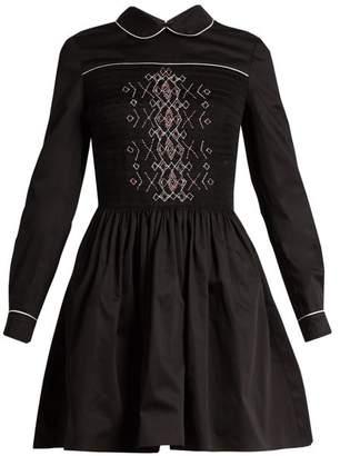 Miu Miu Smocked Front Cotton Mini Dress - Womens - Black