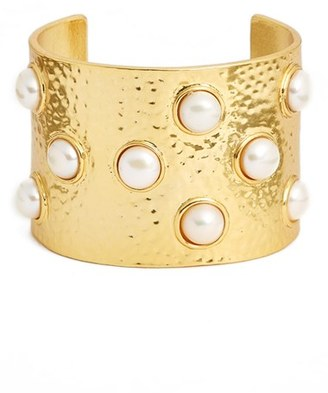 Women's Karine Sultan Hammered Imitation Pearl Cuff $128 thestylecure.com