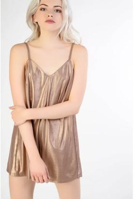 Glamorous Copper Lurex Cami Playsuit