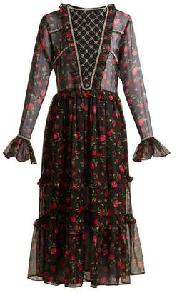 Dodo Bar Or - Roberta Embellished Floral Print Chiffon Dress - Womens - Black Red