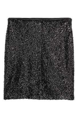 H&M Glittery Skirt - Black/sequins - Women