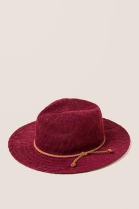 francesca's Reine Boucle Floppy Hat - Burgundy