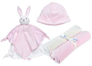 Under the Nile 4-Piece Swaddle Blanket, Beanie & Rabbit Lovey Toy Set