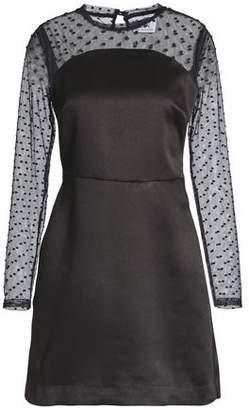 Zoe Karssen Swiss Dot-Paneled Satin Mini Dress